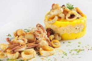Causa stuffed with seafood photo