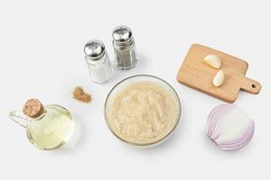 Bowl of fresh garlic dip sauce photo