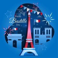 Happy Bastille Day Concept vector