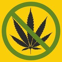 no hay signo simbólico de marihuana círculo rojo hoja verde fondo blanco ilustración vectorial vector