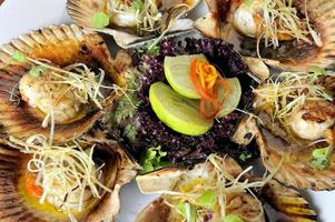 Baked parmesan scallops Typical dish of Peruvian cuisine photo