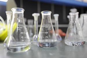 Laboratory glassware containing chemical liquid photo
