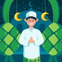 Happy Eid Mubarak with Ketupat Background vector