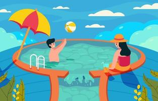 Summer Activity in Swimming Pool vector