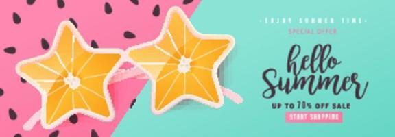 Summer sale bright Color background layout banners  Orange sunglasses concept voucher discount vectore template vector