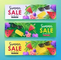 Summer sale background layout for banners set Wallpaper flyers invitation posters brochure voucher discount vector