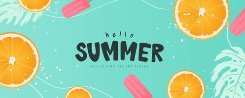 Diseño de fondo de verano colorido diseño de banners encabezado de tarjeta de felicitación de cartel horizontal para sitio web vector