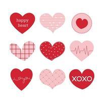 ilustraciones planas de la tarjeta del día de San Valentín con lindo color rosa y rojo nueve corazones vector