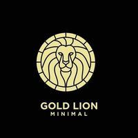 premium minimal gold lion head vector logo design
