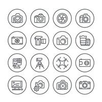 photography line icons set on white vector