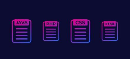 JAVA PHP CSS HTML code vector icons