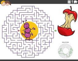 juego educativo de laberinto con hormiga de dibujos animados y núcleo de manzana vector