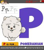 letter P from alphabet with cartoon pomeranian dog character vector