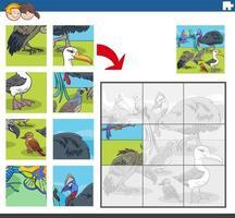 juego de rompecabezas con pájaros divertidos personajes de animales vector