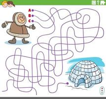 juego de laberinto con personaje esquimal de dibujos animados e iglú vector