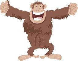 divertido, chimpancé, mono, caricatura, animal, carácter vector