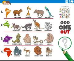 odd one out picture game with animals and continents vector