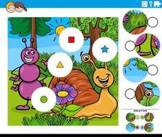 Combina la tarea de piezas con personajes de hormigas y caracoles de dibujos animados vector