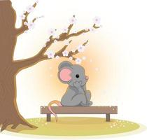 Vector image of a mouse sitting under a flowering tree on a bench