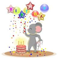 Vector image of a mouse celebrating a birthday with a big cake and a cracker