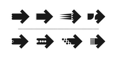 This is a set of new unusual stylish flat arrows with a sharp square finish vector