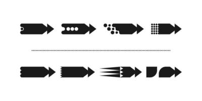 This is a set of new unusual stylish flat arrows with a sharp triangular finish vector