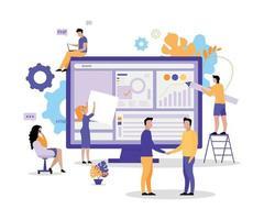 Web development team flat concept vector illustration