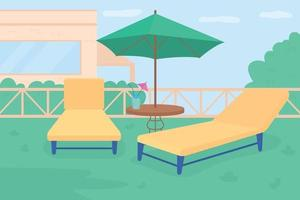 Sunbathing area in own garden flat color vector illustration