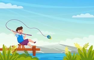 Fishing on Summer vector