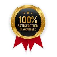 Premium Quality Gold Medal Badge 100 Satisfaction Guaranteed Sign vector