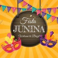 Fondo de fiesta junina con banderas del partido Fondo del festival de junio de Brasil vector