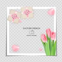Natural Background Photo Frame Template with spring Tulips Flowers and gift box for post in Social Network vector