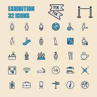 Exhibition and Community vector thin line 64x64 Pixel 32 icon set