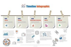 Business timeline infographic report hanging on a rope with clothespin design for abstract template element diagram process technology digital marketing data presentation chart Vector illustration