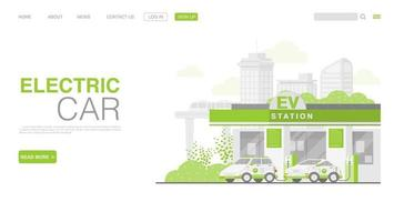 EV Car Or Electric Car At Charging Station vector
