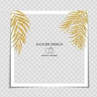 Natural Background Photo Frame Template with Golden Glossy Palm leaves for post in Social Network vector