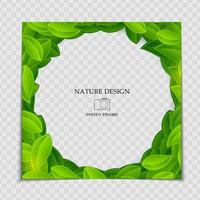 Natural Background Photo Frame Template with green leaves for post in Social Network vector