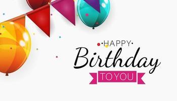 Color Glossy Happy Birthday Balloons vector