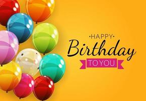 Color Glossy Happy Birthday Balloons Banner Background vector