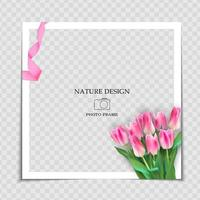 Natural Background Photo Frame Template with Palm leaves for post in Social Network vector