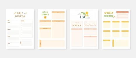 Modern planner template set Set of planner and to do list Monthly weekly daily planner template vector