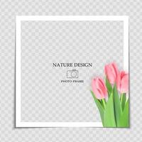 Natural Background Photo Frame Template with spring Tulips Flowers for post in Social Network vector