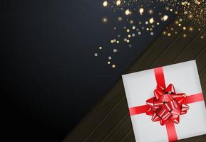 Fondo de tarjeta de invitación abstracta con caja de regalo vector