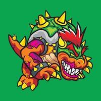 Bowser Monster Zombie Tshirt Design vector