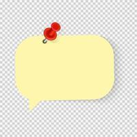 Etiqueta adhesiva de papel vacía de color con pin rojo para mensajes de texto o comerciales de oficina vector