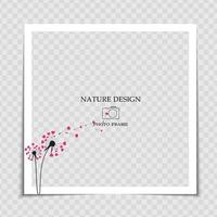 Natural Background Photo Frame Template with dandelion and hearts for post in Social Network vector