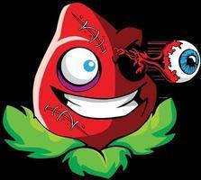 Zombie Plant Popping Eye Tshirt Design vector