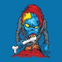 Zombie Eating Bones T shirt Design vector