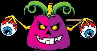 Illustration of pumpkin holding eyeballs vector