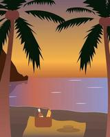 Picnic at the beach by the sea under palm trees during sunset Concept vector illustration